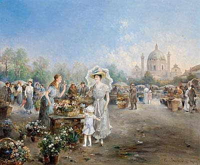 Emil Barbarini (Vienna 1855-1930) Flower Market by
