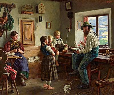 Emil Rau (Dresden 1858-1937) The New Toy, signed
