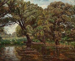 Wilhelm Legler (Pisino, Istria, 1875-1951 Vienna) Danube Meadow, signed and dated W. Legler 1941, Oil on canvas, 65 x 80 cm, framed, ( K)