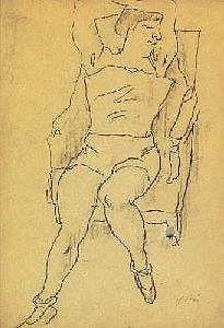 Hans Pilhs (Tullnerbach 1903-1986 Vienna) sitting female act, marks H. Pilhs, black  Opening Price: E150 EURO