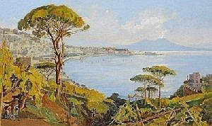 Vincenzo Loria (Salerno 1849 geb., tatig in Neapel) Blick auf den Golf von Neapel, signiert V. Loria/Napoli, Ol auf Leinwand, 38 x 62,5 cm, gerahmt, (W)
