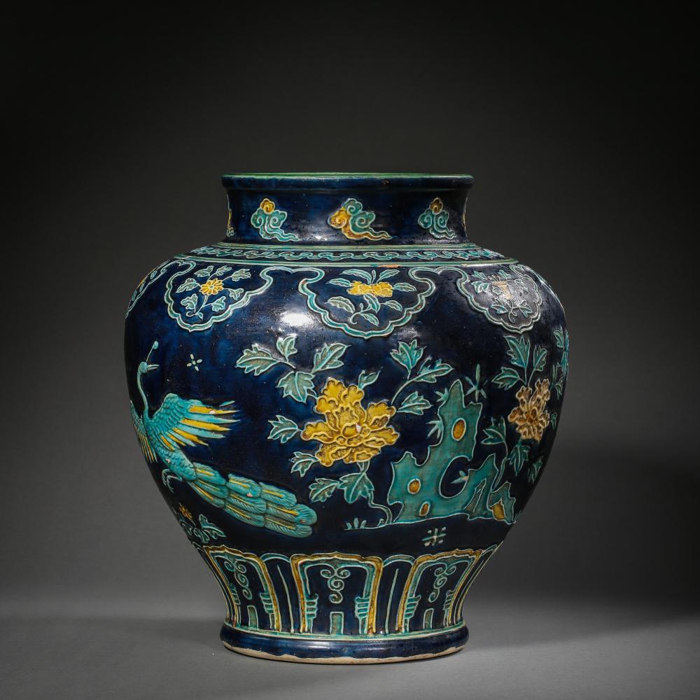 12TH TO 14TH CENTURY, LARGE CHINESE ENAMEL JAR