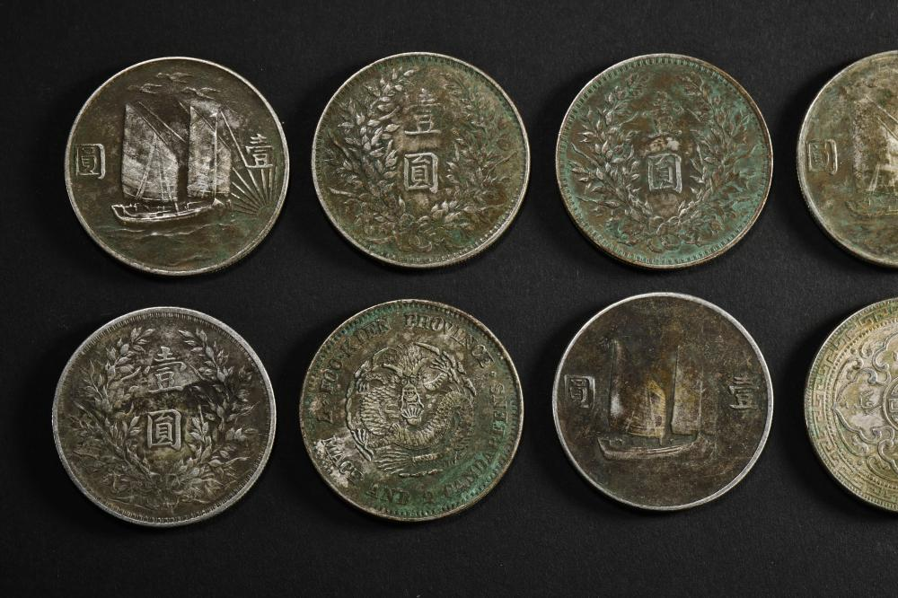 A GROUP OF CHINESE MODERN STERLING SILVER COINS