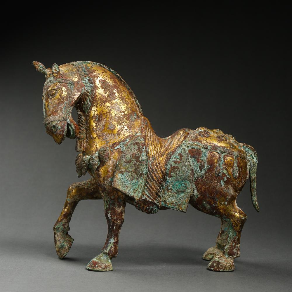 GILT BRONZE HORSE, HAN DYNASTY, CHINA