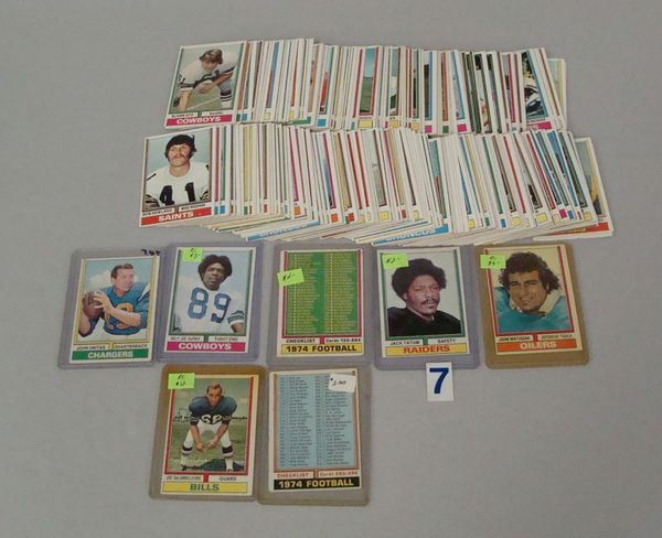 BOX WITH (200) 1974 TOPPS FOOTBALL CARDS