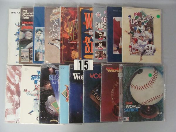 (15) WORLD SERIES BASEBALL PROGRAMS: