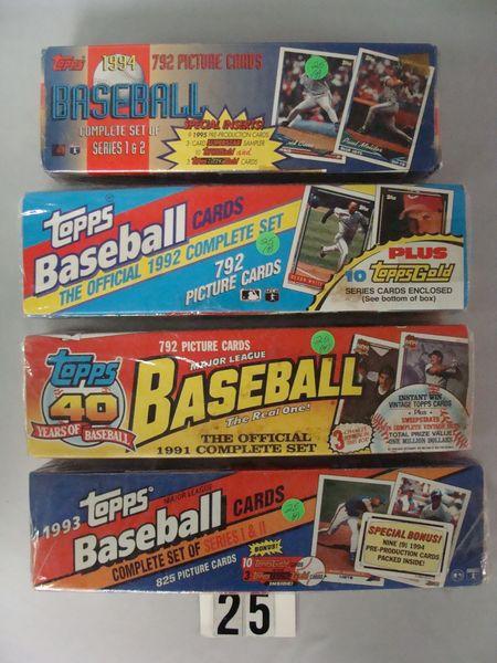 1991, 92, 93 & 94 TOPPS FACTORY BASEBALL CARD