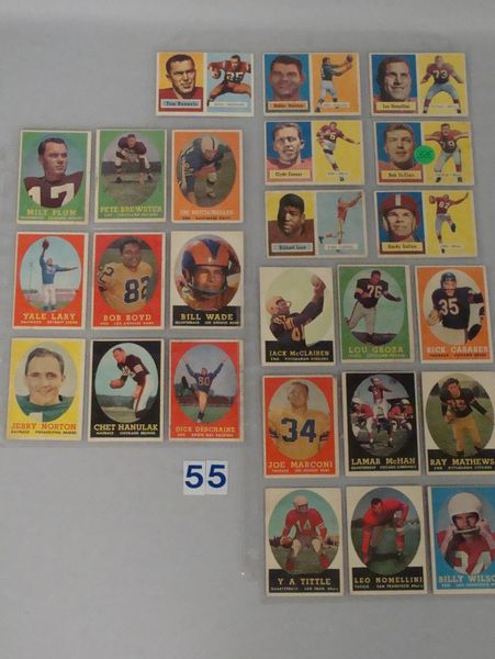 FOOTBALL CARD LOT: (7) 1957 TOPPS