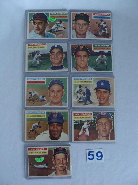 (9) 1956 TOPPS BASEBALL CARDS: