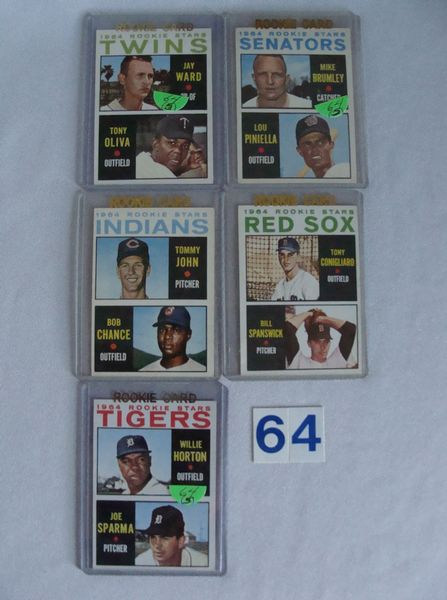(5) 1964 TOPPS BASEBALL ROOKIE CARDS: