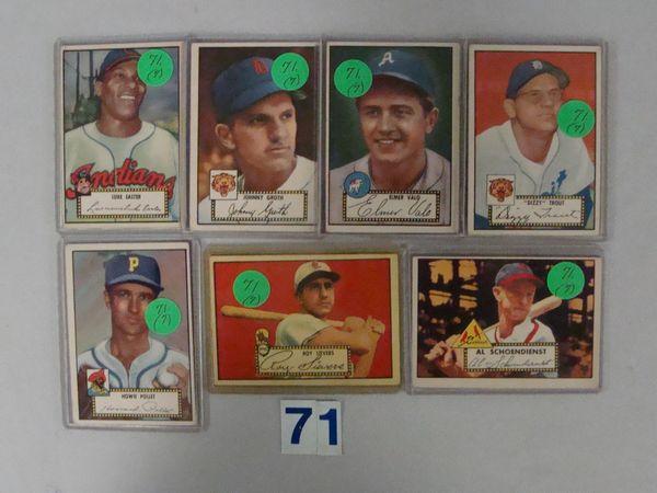 (7) 1952 TOPPS BASEBALL CARDS: #24, 25, 34,