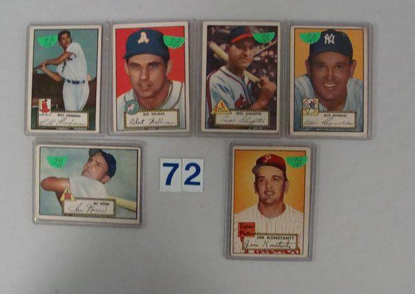 (6) 1952 TOPPS BASEBALL CARDS: #23, 40, 41, 65,