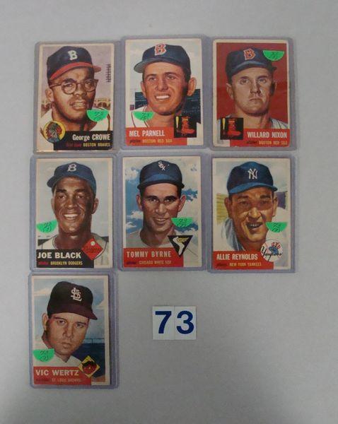 (7) 1953 TOPPS BASEBALL CARDS: #3, 19, 30