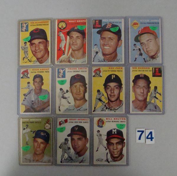 (11) 1954 TOPPS BASEBALL CARDS: #7, 18, 40, 41,