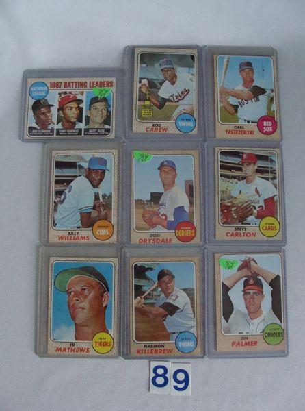 (9) 1968 TOPPS BASEBALL STARS CARDS: