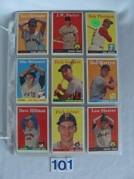 (63) 1958 TOPPS BASEBALL CARDS: