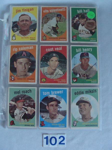 (63) 1959 TOPPS BASEBALL CARDS: