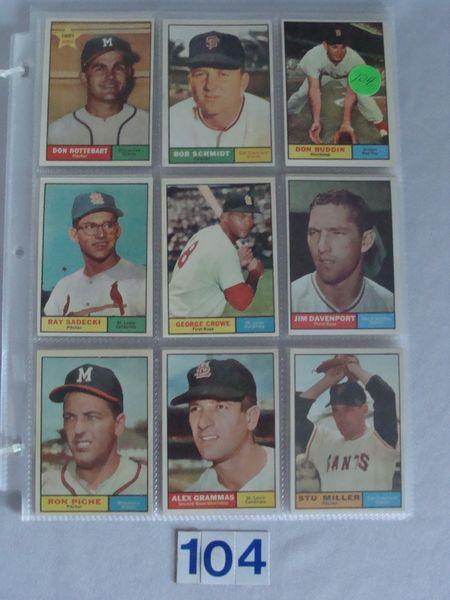 (54) 1961 TOPPS BASEBALL CARDS #29-449