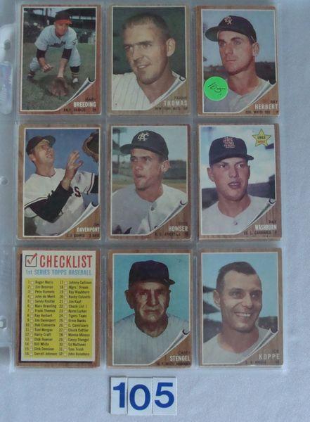 (48) 1962 TOPPS BASEBALL CARDS #6-518 -