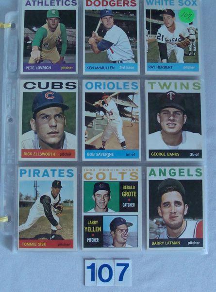 (54) 1964 TOPPS BASEBALL CARDS #212-370 -