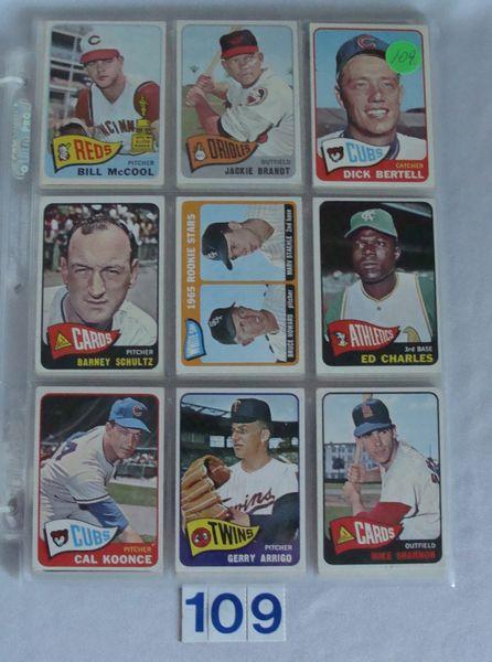 (72) 1965 TOPPS BASEBALL CARDS #18-345 -