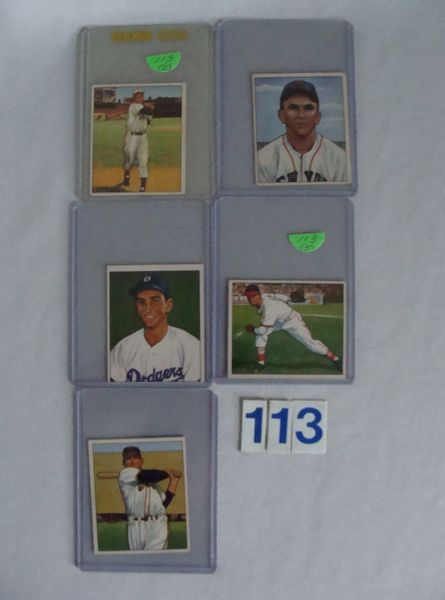 (5) 1950 BOWMAN BASEBALL LOW NUMBERS: