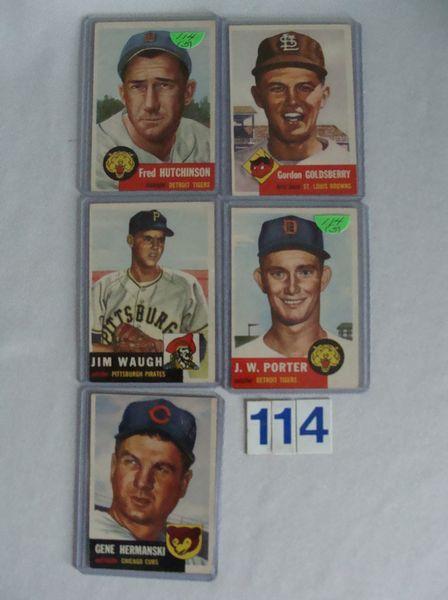 (5) 1953 TOPPS #72 - GOOD, 178, 179, 200 & 211 -