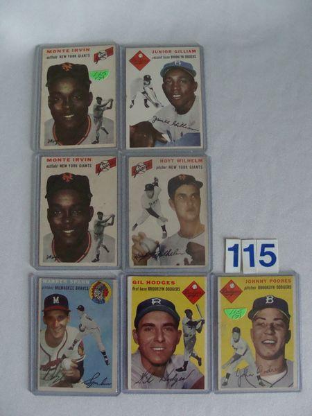 (7) 1954 TOPPS BASEBALL STARS: