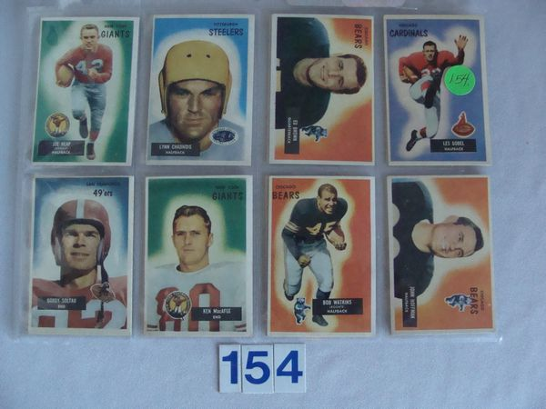 (16 DIFF.) 1955 BOWMAN FOOTBALL CARDS: