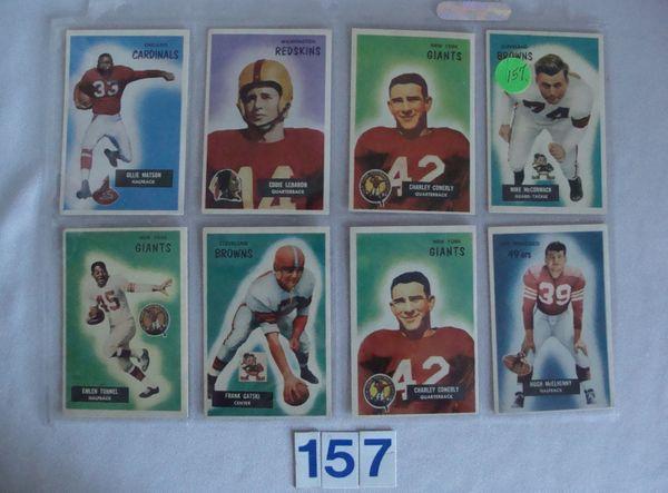 (8) 1955 BOWMAN FOOTBALL CARDS: