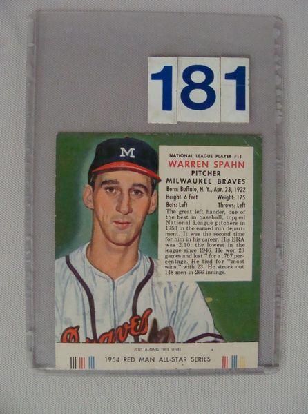 1954 RED MAN TOBACCO #11 WARREN SPAHN