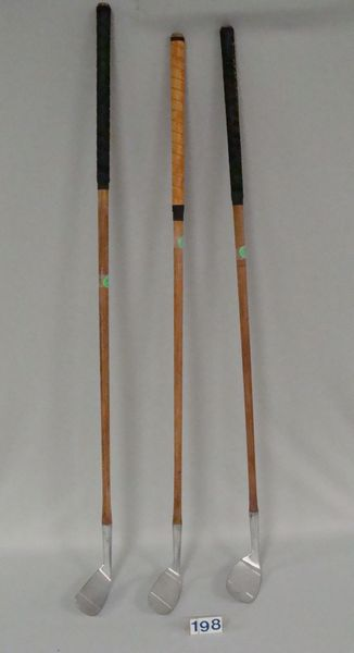 (3) WOODEN (HICKORY) SHAFT IRONS