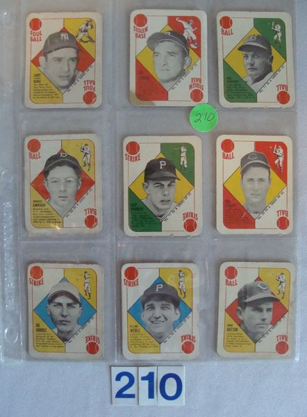 (9 DIFF.) 1951 TOPPS BASEBALL RED BACKS: