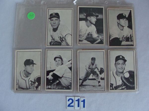 (7) 1953 BOWMAN B&W BASEBALL CARDS:
