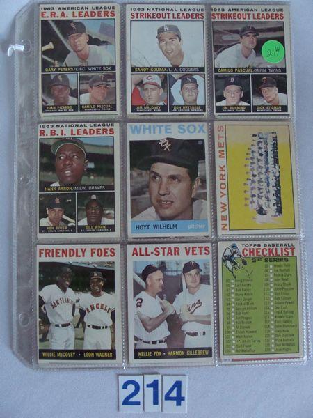 (25 DIFF.) 1964 TOPPS BASEBALL CARDS