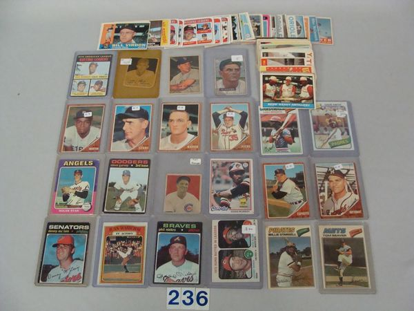 BOX WITH MOSTLY VINTAGE BASEBALL CARDS