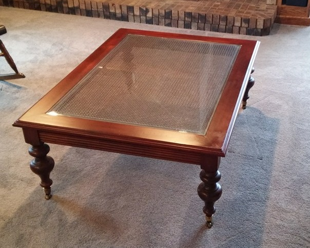 Ethan Allen Over Sized Coffee Table With With Brass Wheels Glass