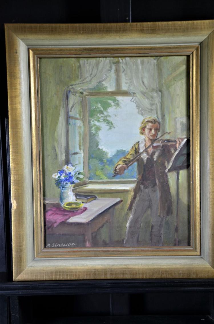 R. Schaupp, 1871 - 1954, oil on canvas violinist. 44 x 33cm.