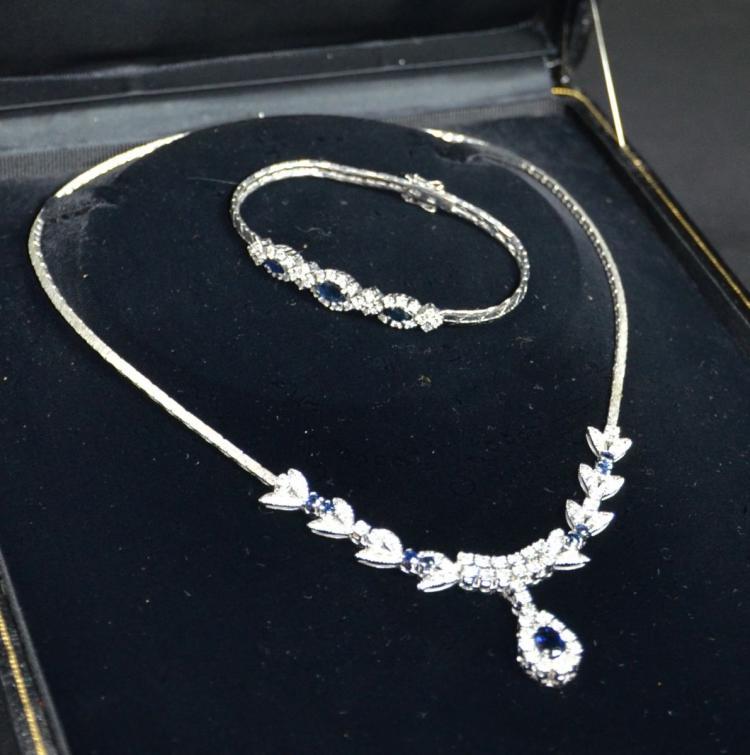 magasin en ligne 64eda 98f06 Parure en or blanc composée dun collier richement pavés de ...