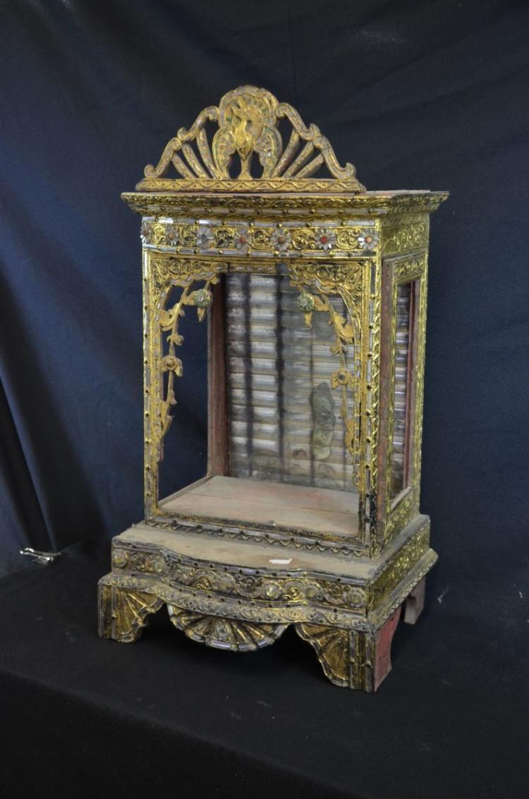 Temple en bois dor finement cisel avec paillettes de miro for Miroir paillette