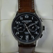 Chronograph LONGINES. Automation in steel. Calendar. Manufactured for the Olympic Games. With box...