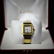 Automatic wristwatch CARTIER Santos. Completely made of 18ct gold. With calendar and box. Very good...