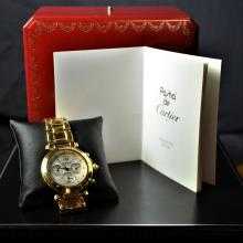 Automatic chronograph CARTIER Pasha. Completely made of 18ct gold (162 g). Ø 39mm. Very good...