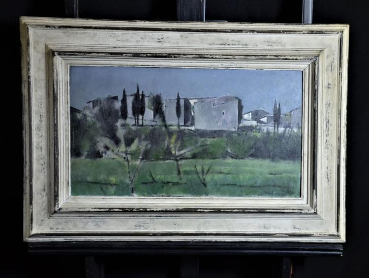 Oil on Pavatex Landscape, signed Ch. Barraud (1955). 32 x 56cm.