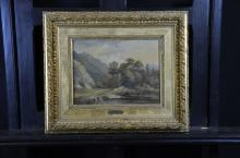 Oil on canvas River landscape with wanderers, monogrammed E.C., E. Ciceri. Hole in the paint layer....
