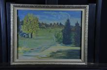 Oil on cardboard Summer Landscape, signed A.P. Kissling, dated 1947. 30 x 39cm.