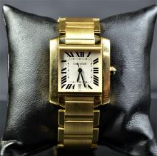 Automatic wristwatch CARTIER Tank, French, completely made of 18ct gold. With calendar. New old...