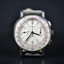 Chronographe en acier LONGINES, calibre 13 ZN, no 21925. New old stock.