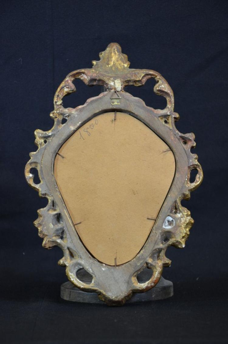 Petit miroir roccaille en bois dor env 1920 hauteur 34c for Petit miroir dore