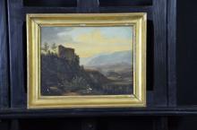 Oil on canvas Castle. 24 x 31cm. Slightly damaged.